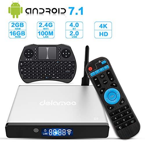 Android 7.1 TV Box,Dolamee Smart TV Box 2GB RAM 16GB ROM Support Ultra 4K HD@60fps 3D HEVC H.265/2.4GHz WiFi Bluetooth 4.0 Mini Media Player with Mini Keyboard