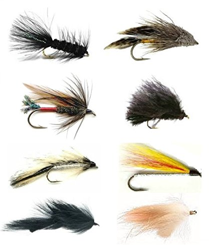 Feeder Creek Fly Fishing Lures for Trout or Bass Fishing and Other Freshwater Fish - 48 Streamer Flies - 8 Patterns in 3 Sizes (2 of Each Size) Wooly Bugger, Streamers, Leech, and More - Sold