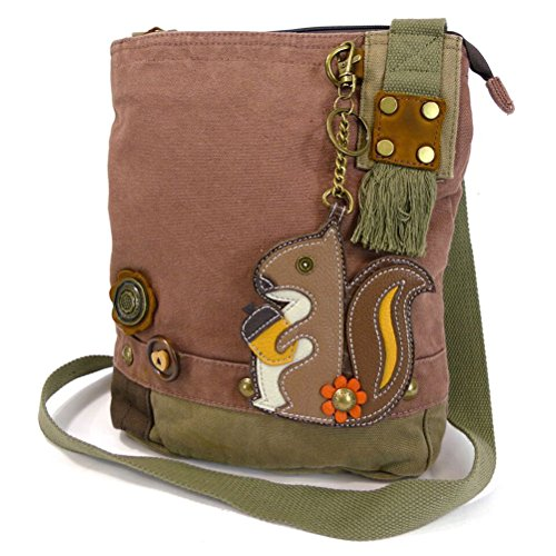 Chala Handbags Patchwork Crossbody Canvas Messenger Bags with Faux Leather Animal Coin Purse, Mauve Squirrel