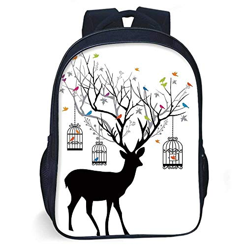 Antlers Decor Stylish Backpack,Deer with Colorful Birds and Birdcages Silhouette Ornament Vintage Style Decorative for Daily Use,11.8