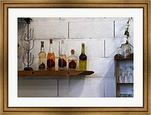 Collection of Pear Eau-de-Vie, Champagne Francois Seconde by Per Karlsson/Danita Delimont Framed Art Print Wall Picture, Wide Gold Frame, 37 x 28 inches ()
