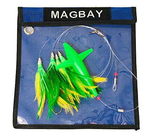 MagBay Lures Daisy Chain Teaser with Bird - Green Feather Teaser Rigged with Lure - Rigged Teaser