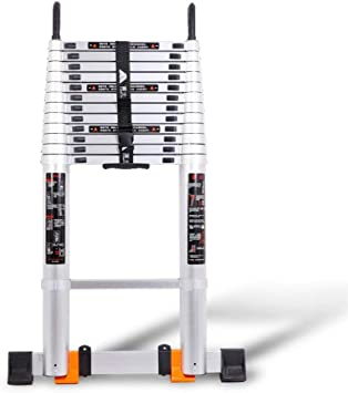 Telescoping Ladders Multi Function Extension Ladder Ladder With Wheels Non Slip Design 330 Pound Capacity Size 3 9m Amazon Com
