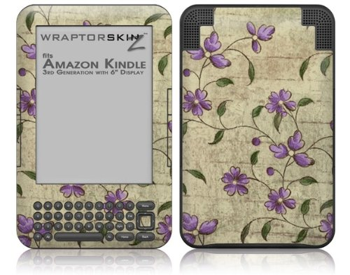 Flowers and Berries Purple - Decal Style Skin fits Amazon Kindle 3 Keyboard (with 6 inch display)