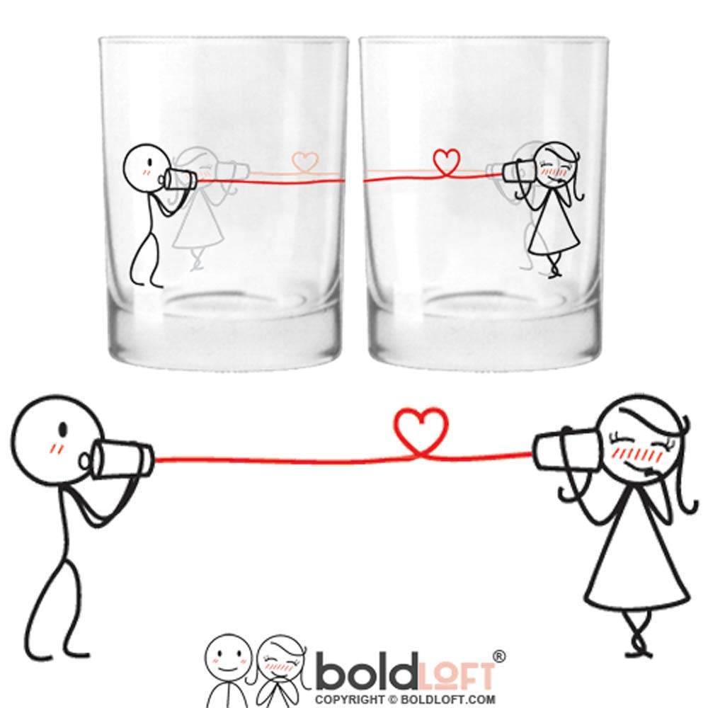 BOLDLOFT Say I Love You His and Hers Drinking Glasses-Christmas Gifts for Girlfriend or Wife, Christmas Gifts for Couples, Gifts for Her, Valentines Day Gifts for Her, Romantic Anniversary Gifts by BoldLoft (Image #1)