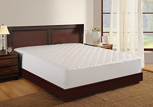Haven 100% Cotton 400 Thread Count Antimicrobial Mattress Pad, Sateen Weave, White, King
