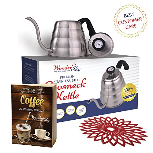 Pour Over Tea / Coffee Gooseneck Kettle (Black) 1.2L with Thermometer 304 Stainless Steel for Barista or Home Brewing for all stoves with Silicone Teapot Coaster By Wonder (Teapot Drip)