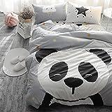 Svetanya Panda Gray Duvet Cover Set Flat Sheet Pillow Cases 500TC 100% Soft Cotton Fabric Twin Size Bedding Sets