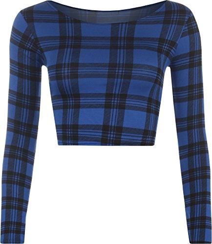 WearAll Women's Print Long Sleeve Crop Top - Blue Tartan - US 4-6 (UK 8-10)