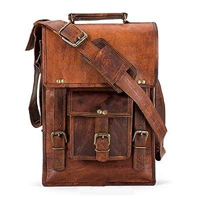 Handmade Leather Crossbody satchel shoulder Messenger briefcase ipad tablet bag 13 inch mens womens
