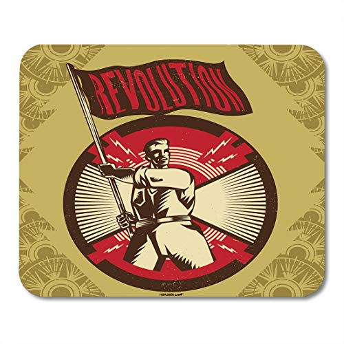 """Price comparison product image Emvency Mouse Pads Red Revolution Vintage Propaganda and Object Suitable Any Media Need Industry Mouse pad 9.5"""" x 7.9"""" for Notebooks,Desktop Computers Accessories Mini Office Supplies Mouse Mats"""