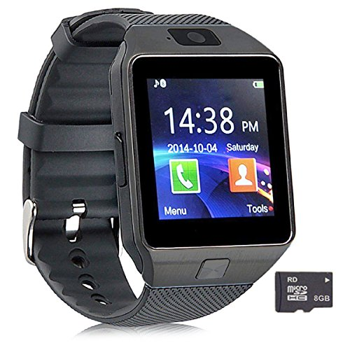 Pandaoo Smart Watch Mobile Phone DZ09 Unlocked Universal GSM Bluetooth 4.0 8GB Storage Music Player Camera Calendar Stopwatch Sync with Android Smartphones(Black) (Arabic Cell Phone)
