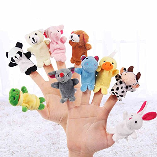 (TECHSON 10 PCS Animal Finger Puppets, Different Cartoon Soft Velvet Dolls Props Toys for Story Time Show Play, Gift for Kids)