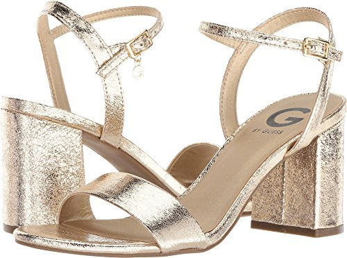 G by GUESS Women's Destin Gold Crackle 7 M US (Sandals Leather Patent Guess)