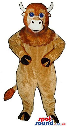 [Brown Bull Animal SPOTSOUND US Mascot Costume With Hairy Face And Blue Eyes] (Blue Bull Mascot Costume)
