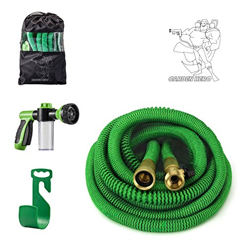 Garden hero flexible 50 foot expanding water hose heavy duty Rustproof Nickel Plated Brass Fittings lightweigh & easy to use with 9 functions sprayer nozzle For gardens houses car& dog washing free