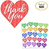 "1.5"" Colorful Thank You Self-Adhesive Heart Sticker Labels - 10 Colors, 25 sheets, Pack of 500"