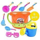 HuntGold 9Pcs Plastic/Resin Bucket, Spade, Rakes, Watering Can, Sunglasses Unisex Children Kids Sand Beach Playing Toys Set Random Colors