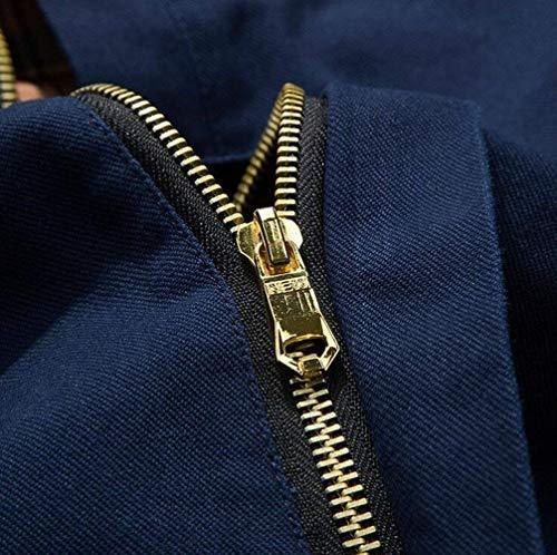 Casual Chaqueta Los De De Blau Invierno Simple Hombres Hombres Moda Manga Piloto Campo Algodón De Chaqueta Hombres De Chaqueta De Otoño Estilo De De Larga Chaqueta Parka Cuello Collar fYz4q