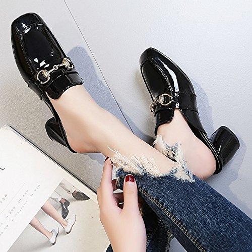 testa pantofole con Qingchunhuangtang sandali Nero cool e Baotou di spessore trascinare La SxqF5fwqT