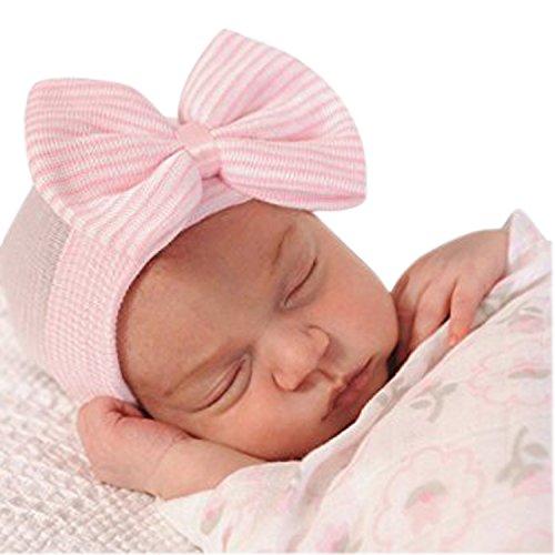 Evelin LEE Newborn Baby Infant Girl Nursery Beanie Hospital Hat With Bow (Pink)