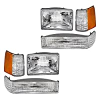 6 Pc Set Headlights w/Front Park Signal Lamps & Side Markers Replacement for Jeep Grand Cherokee 56005099 55155126