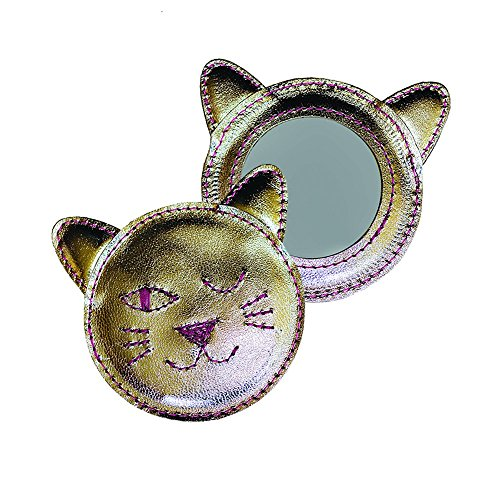 Winking Kitty Leather Compact Mirror - Silver