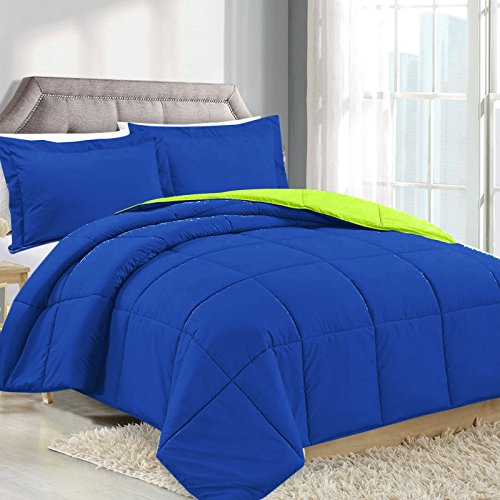 Twin Comforter Reversible Duvet Insert - Royal Blue/Lime Green - Hypoallergenic, Plush Siliconized Fiberfill, Box Stitched, Luxury Goose Down Alternative Comforter, Protects Against Dust and Allergens