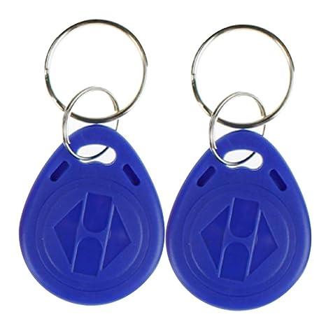 OBO HANDS proximidad EM4100 EM4102 125 KHz RFID EM-ID tarjeta RFID clave cadena llavero de sólo lectura color Pack de 10, azul