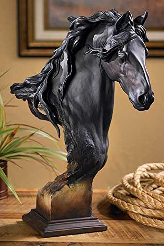Wild Wings Equus Onyx - Fresian Horse - Small Sculpture by Arich Harrison (Sculpture Metal Horse)
