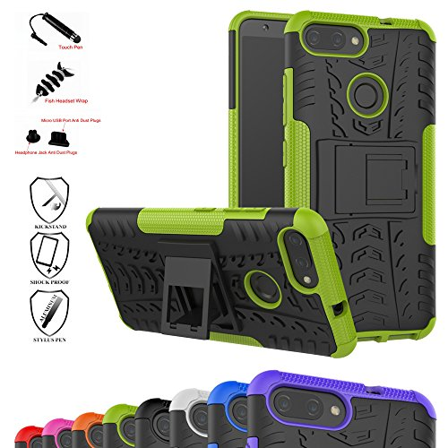 Zenfone Max Plus Case,Mama Mouth Shockproof Heavy Duty Combo Hybrid Rugged Dual Layer Grip Cover with Kickstand for Asus Zenfone Max Plus (M1) ZB570TL (with 4 in 1 Packaged),Green