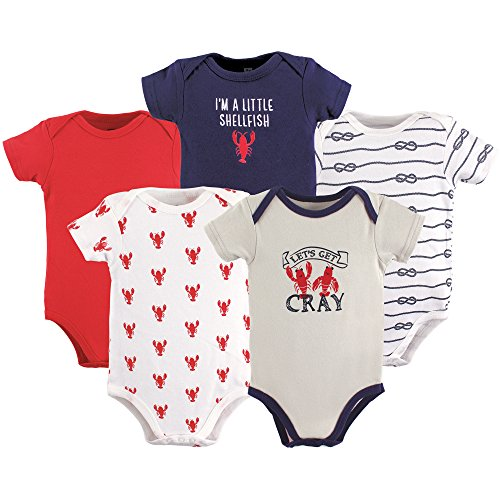 HUDSON BABY Unisex Baby Cotton Bodysuits, Cray Fish 5 Pack, 12-18 Months (18M)