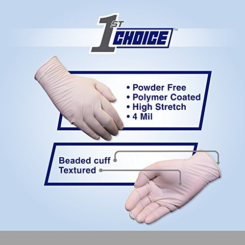 1st Choice Ivory Latex 4 Mil Thick Disposable Gloves, Large, Case of 1000 - Medical/Exam Grade, Powder-Free by 1st Choice (Image #2)