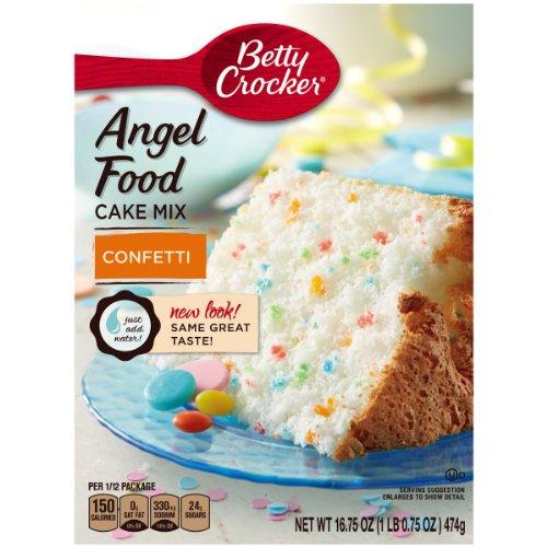 Angel Food Muffins - Betty Crocker Baking Mix, Fat Free Angel Food Cake Mix, Confetti, 16.75 Oz Box (Pack of 12)
