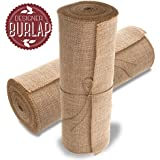 "Burlap Table Runners ~ 14"" Wide X 10 Yards Long Burlap Roll ~ Burlap Fabric Rolls. A NO-FRAY Burlap Runner with OVERLOCKED and SEWN Edges for Rustic Weddings, Decorations and Crafts!"