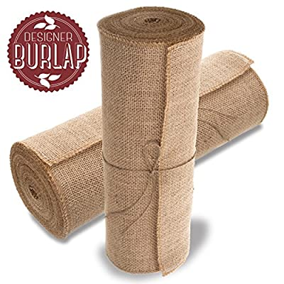 Burlap Table Runner - 14 Inch Wide X 10 Yards Long Burlap Roll - Burlap Fabric Rolls. A No-Fray Burlap Runner with Overlocked and Sewn Edges for Rustic Weddings, Decorations and Crafts! - THICKER WEAVE: Our burlap roll is the one and only with a weave of 50 yarns per every 10 centimeters. This creates a tighter, no-gap weave for a more durable material and a sophisticated look at your event. Forget rougher, coarser burlap rolls. This roll of burlap has rows of neat, symmetrical stitching. Result: It's softer, smoother, suppler & easier to work with. SEWN EDGES TO STOP FRAYING: No more raw, frazzled edges. Side edges are sewn and overlocked so your rolls of burlap and burlap table runners won't unravel or fall apart. This roll of burlap fabric is a seamless ten yards, not smaller pieces sewn together. Whether you use the whole 14 INCH WIDE by 10 yard roll at one time, or trim it into sections, the results will be beautiful - with a cleaner, classier look. ENDLESS POSSIBILITES: Whether this burlap is impressing guests at your special event or adding that unique rustic look to your home décor, or even being used for gardening and landscaping, you'll be coming back for more! - table-runners, kitchen-dining-room-table-linens, kitchen-dining-room - 51Ym1u2TasL. SS400  -