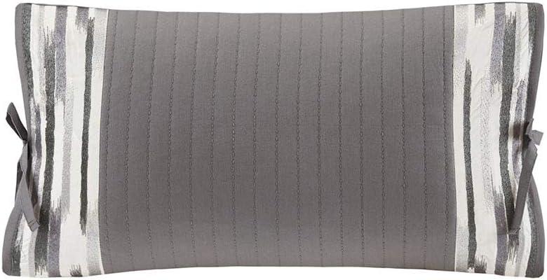 N Natori Hanae Embroidered Cotton Oblong Decorative Pillow Grey 12x20