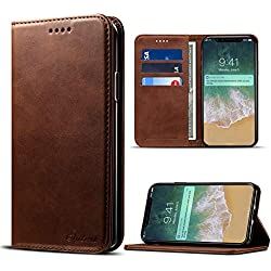 iPhone X Case, iPhone 10 Premium Leather Wallet with Card Holder for Men/Women's Back Cell Phone Shell Skin Magnetic Flap Cover for Apple iPhoneX