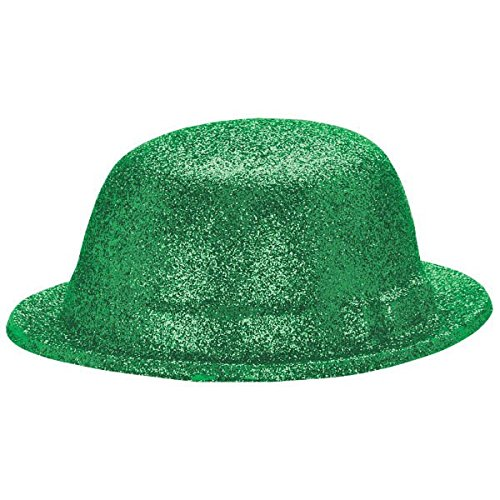 Amscan St. Patrick's Day Plastic Glitter Derby Hat Costume Party Head Wear (1 Piece), Green, 4