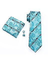 CAOFENVOO Men's Tie Set Paisley Jacquard Woven Silk Necktie Turquoise Brown