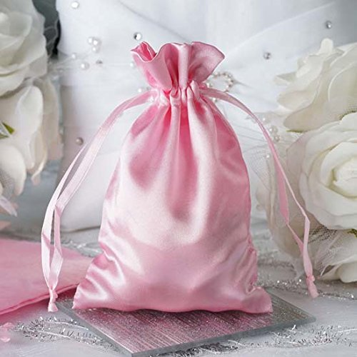 Efavormart 12PCS PINK Satin Gift Bag Drawstring Pouch Wedding Favors Bridal Shower Jewelry Bags - 4