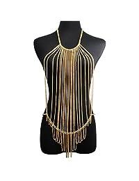 Jane Stone Gold Tone Bohemian Layered Sexy Bralette Body Chain Statement Beach Jewelry(Fn1805)