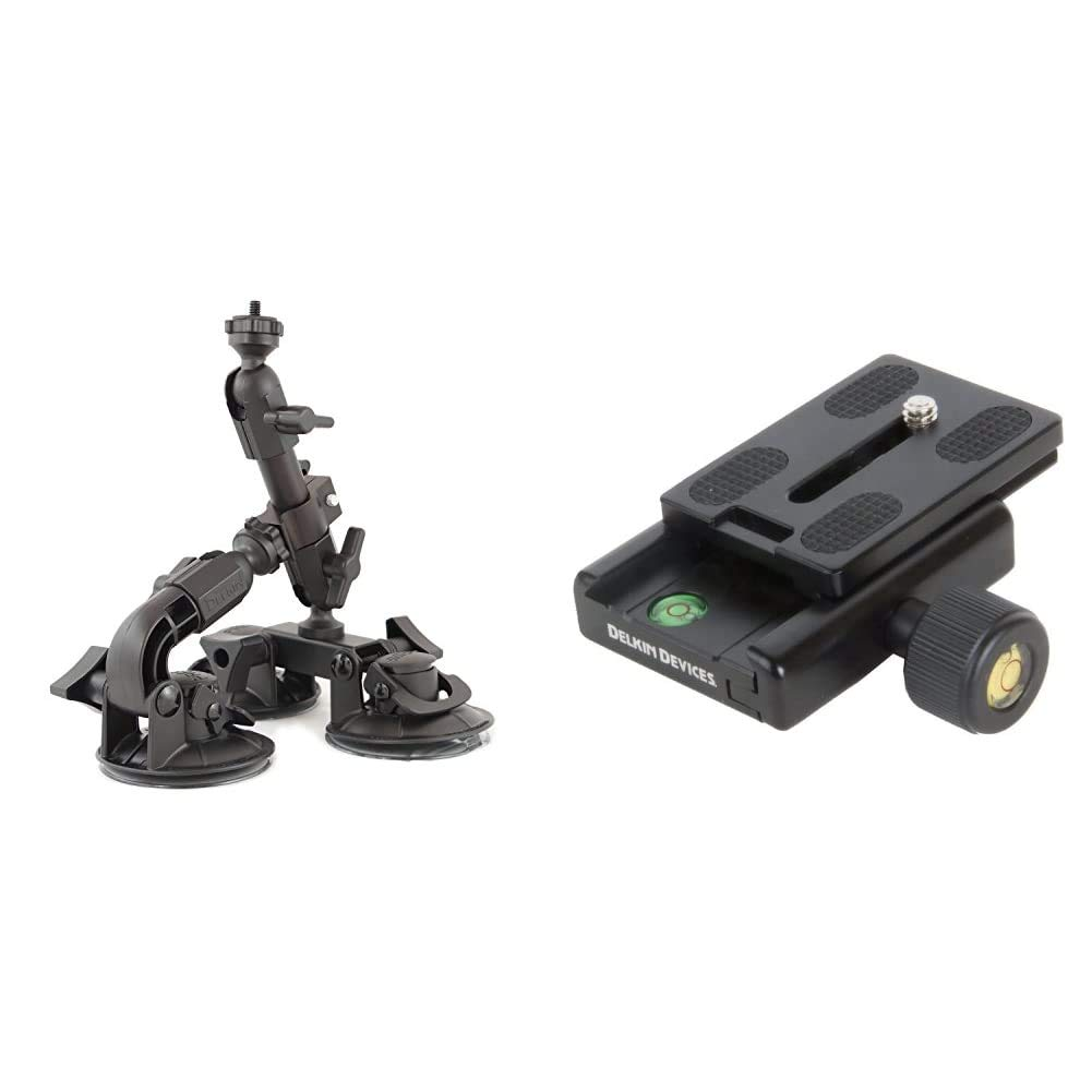 Delkin DDMNT-Triple Fat Gecko Three-Arm Suction Mount (Black) & DDMOUNT-AC-QKRLS Fat Gecko Quick Release Kit (Black)