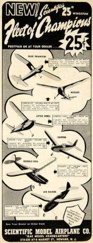 1941 Ad Scientific Model Airplane Blue Phantom Wizard Little Rebel Aircraft - Original Print Ad