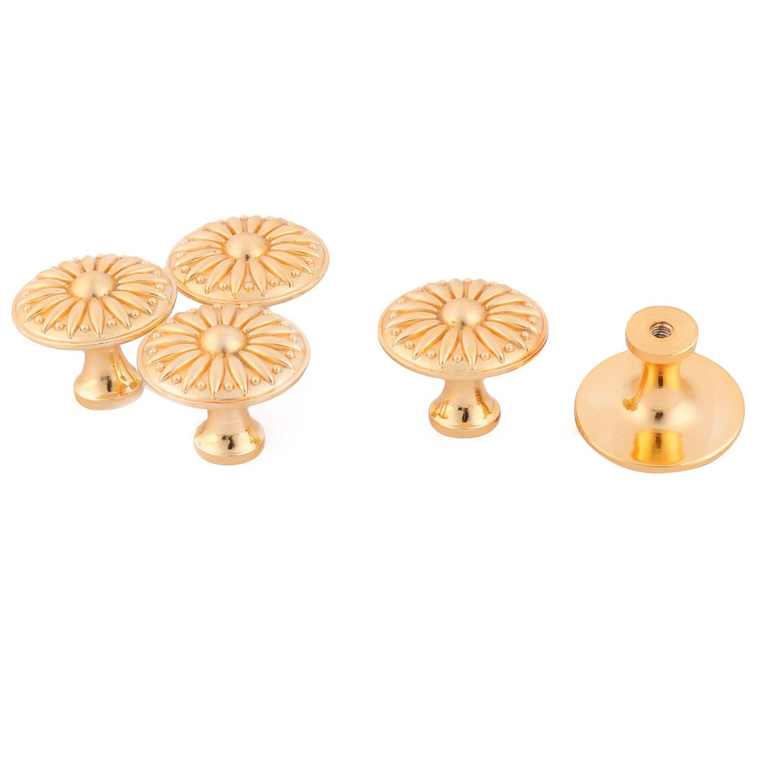uxcell Family Vintage Style Door Window Cabinet Cupboard Pull Grip Knob 5pcs Gold Tone