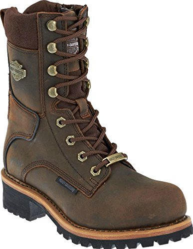 Harley-Davidson Women's Tyson 7-In Logger Motorcycle Boots D87088 (Brown, 8.5)