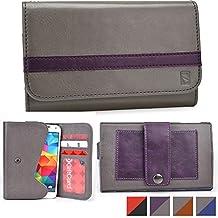 Cooper Cases(TM) Belt Clutch Universal Motorola Moto Maxx / Moto X 2014 / Moto X 2nd gen Smartphone Wallet Case in Grey & Purple (Belt Mount Strap; Credit Card/ID Slots, Slip Pocket; Dual-Tone Design)