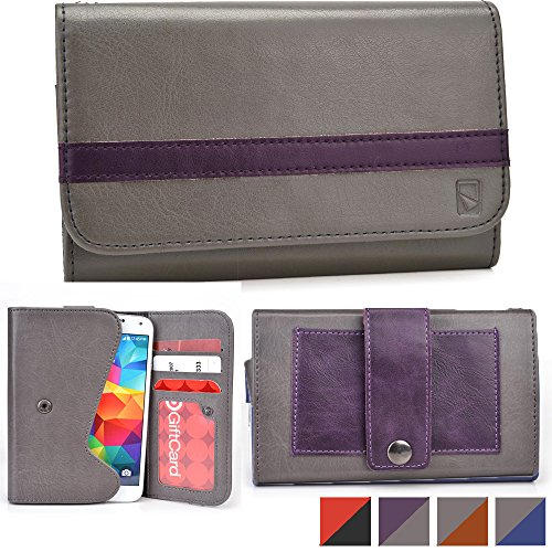 Cooper Cases(TM) Belt Clutch Universal Xolo A1000s/A1010/Q1000/Q1000 Opus/Q1000 Opus 2 Smartphone Wallet Case in Grey & Purple (Belt Mount Strap; Credit Card/ID Slots, Slip Pocket; Dual-Tone Design) (Strap Opus)