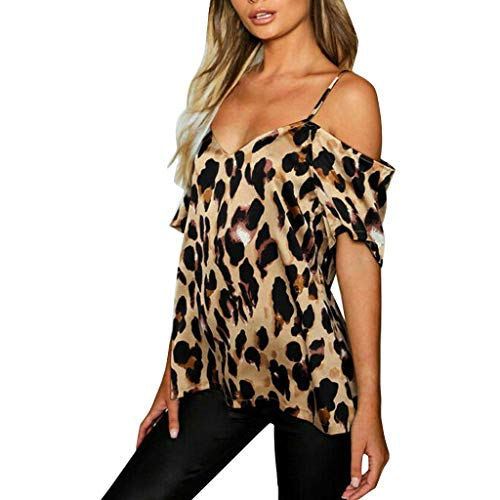 Womens Leopard Print Tops - Summer Loose Short Sleeve Cold Shoulder Spaghetti Strap Blouse T-Shirt (S-5XL)