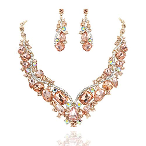 SP Sophia Collection Women's Wedding Bridal Austrian Crystal Necklace and Earrings Jewelry Set in - Peach Crystal Necklace